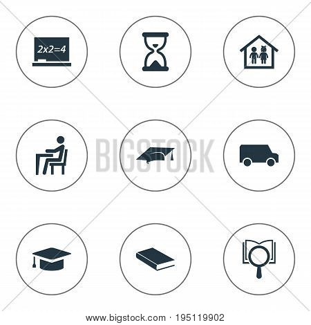 Vector Illustration Set Of Simple Knowledge Icons. Elements Undergraduate, Sandglass, Cap Synonyms Undergraduate, Hourglass And Building.