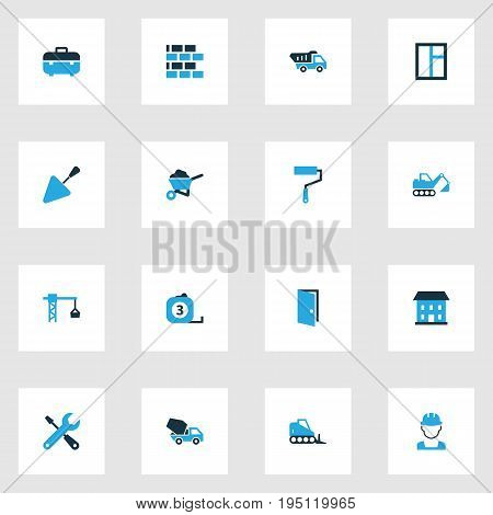 Building Colorful Icons Set. Collection Of Glass, Barrow, Building And Other Elements. Also Includes Symbols Such As Bulldozer, Shovel, Barrow.