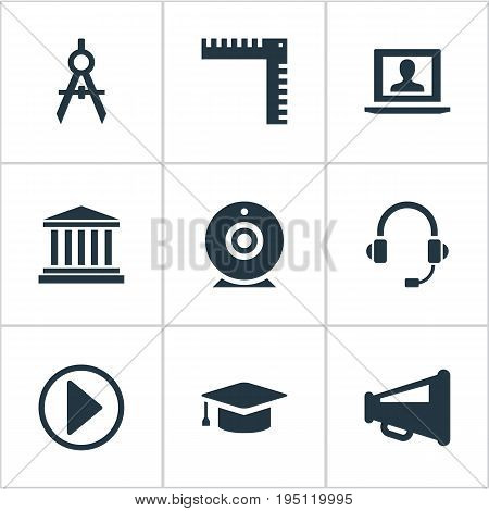 Vector Illustration Set Of Simple Training Icons. Elements Online Conference, Announcement, Architect Drafting And Other Synonyms Advertisiment, Cap And Megaphone.