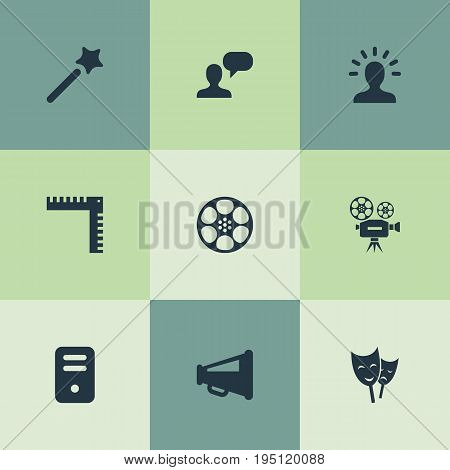Vector Illustration Set Of Simple Designicons Icons. Elements Wizard Stick, System Unit, Retro Movie And Other Synonyms Camera, Film And Bullhorn.