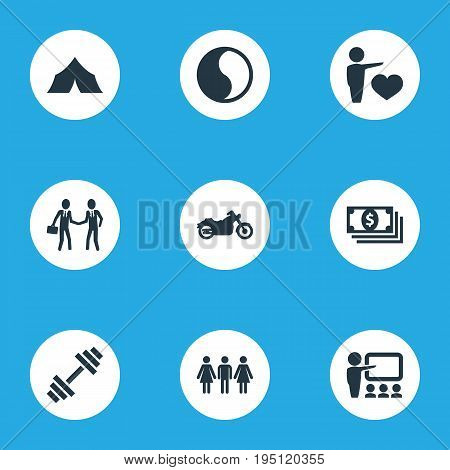 Vector Illustration Set Of Simple Health Icons. Elements Education, Weightlifting, Medicine And Other Synonyms Danking, Dollars And Presentation.