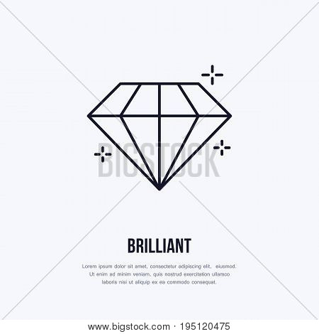 Shining brilliant illustration. Diamond jewelry flat line icon, gem stone store logo. Jewels luxury accessories sign.