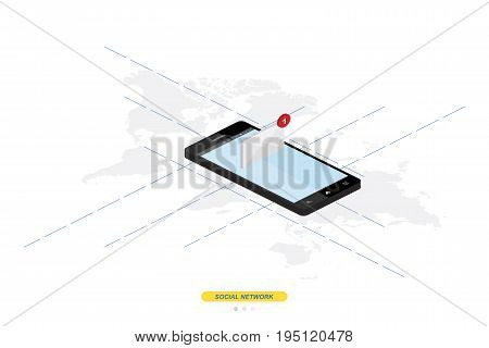 3D Isometric Concept. New Message Notification Icon In Smartphone Against The Background Of The Worl