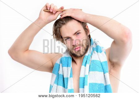 Bathing And Morning Time Concept. Man With Naked Torso