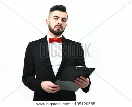 Businessman Or Broker With Confident Face Expression And Dark Beard