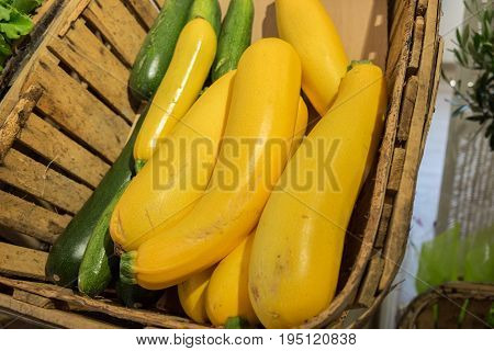 Organics Yellow And Green Zucchini Sold At Local Store In Provence Region. France