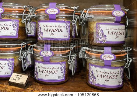 VALENSOLE FRANCE - JUNE 19 2017: Lavender Terrine sold at local store in Provence region. France. This is spread made out of pork meat chicken liver and lavender flowers