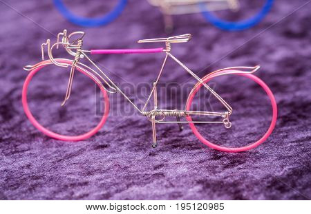 Souvenir wiremade bicycle sold at handicraft market. Israel