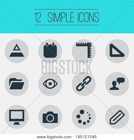 Vector Illustration Set Of Simple Icon Icons. Elements Hierarchy, Triangle Ruler, Chain And Other Synonyms Hierarchy, Documents And File.