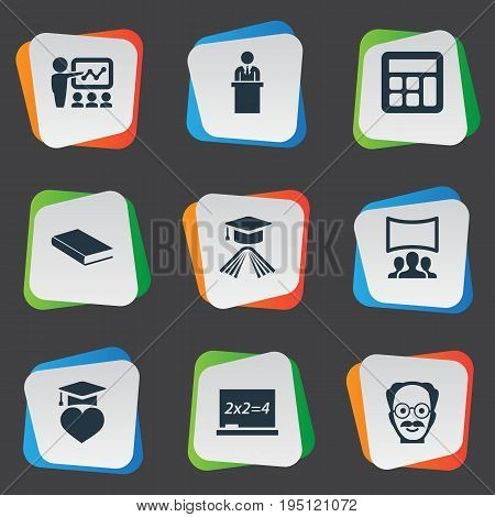 Vector Illustration Set Of Simple School Icons. Elements Interactive Lesson, Hat, Professor And Other Synonyms Slideshow, Hat And Professor.