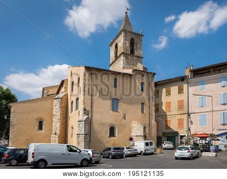 Main Square Of Riez. Typical Town Of Provence Region. France