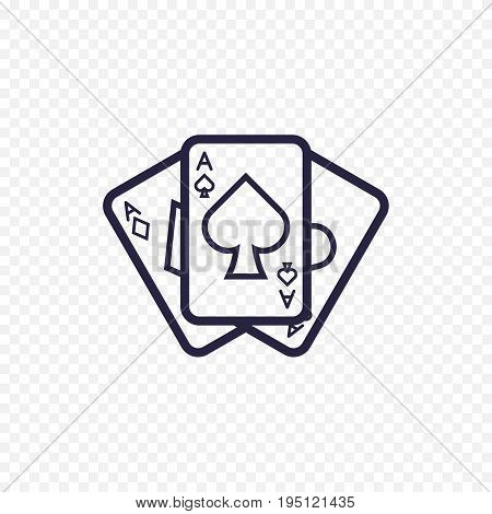 Playing Card Icon Casino Game. Ace Poker Cards Thin Linear Signs. Outline Concept For Websites, Info