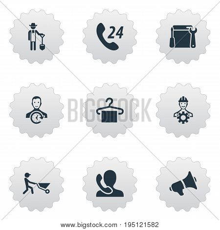 Vector Illustration Set Of Simple Help Icons. Elements Engineer, Hanger, Builder And Other Synonyms Work, Worker And Machine.