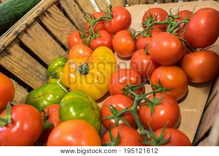 Organic Fresh Different Tomatoes Sold At Local Store In Provence Region. France