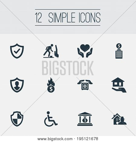 Vector Illustration Set Of Simple Warrant Icons. Elements Stumbling Warning, Heart In Hand, Locked Synonyms Man, Estate And Shield.