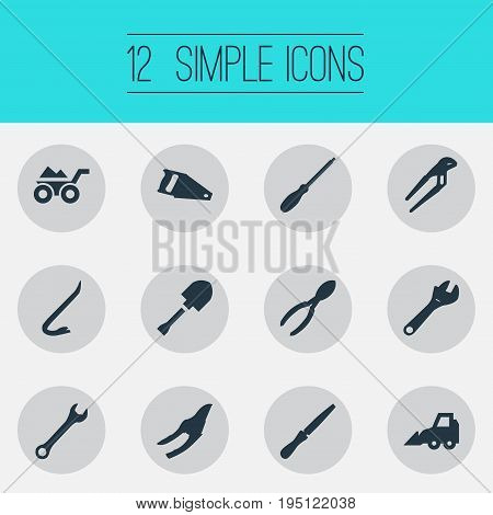 Vector Illustration Set Of Simple Construction Icons. Elements Jimmy, Fretsaw, Excavator And Other Synonyms Spanner, Cart And Vehicle.