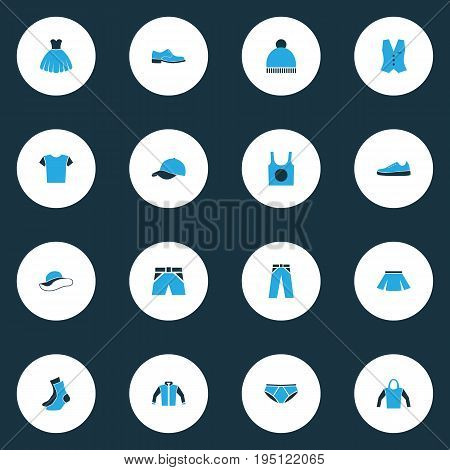 Dress Colorful Icons Set. Collection Of Beanie, Panties, Cap And Other Elements. Also Includes Symbols Such As Dress, Wear, Footwear.