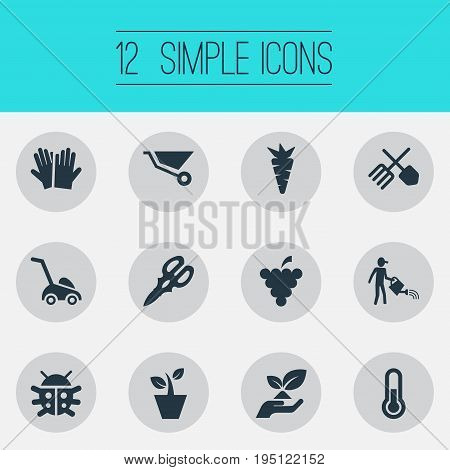 Vector Illustration Set Of Simple Garden Icons. Elements Farmer, Rescue Nature, Horticulture Equipment And Other Synonyms Root, Pushcart And Farmer.