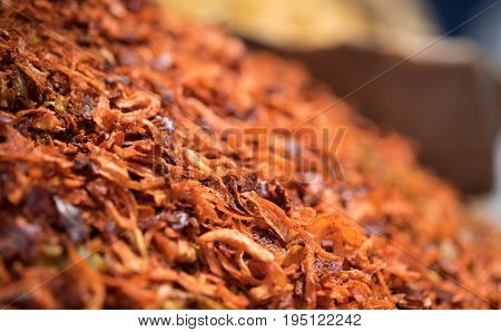 Macro Shot Of Dried Spices And Fried Shallots Onions Sold At Local Farmers Market. Selective Focus