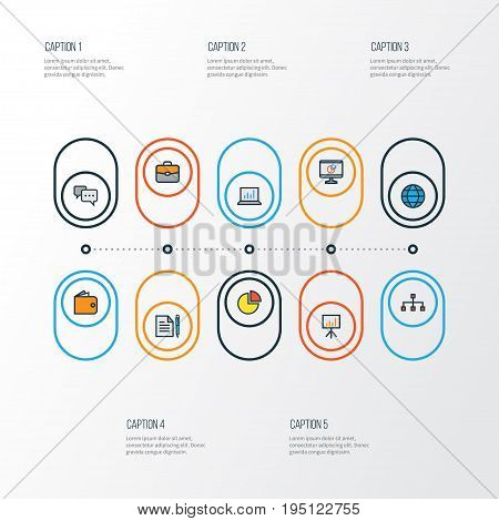 Business Colorful Outline Icons Set. Collection Of Portfolio, Network, Agreement And Other Elements. Also Includes Symbols Such As Hierarchy, Chart, Network.