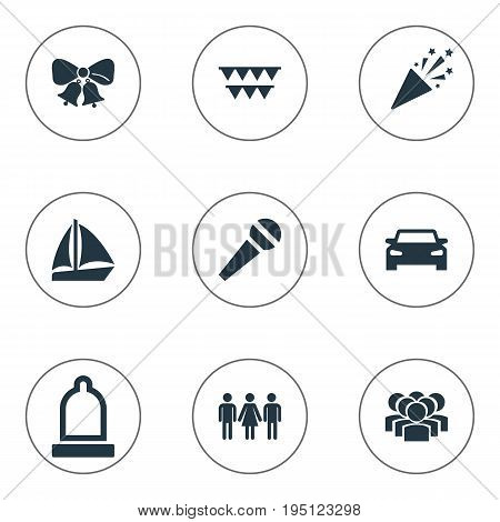 Vector Illustration Set Of Simple Party Icons. Elements Team, Automobile, Rubber And Other Synonyms Caller, Preservation And Microphone.
