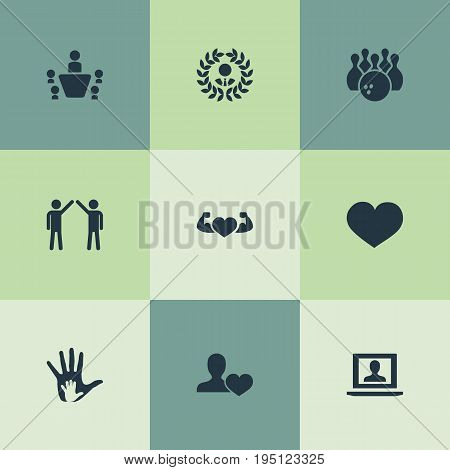 Vector Illustration Set Of Simple  Icons. Elements Entertainment, Love, Reward And Other Synonyms Love, Hand And Bowling.