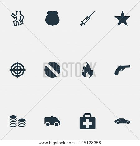 Vector Illustration Set Of Simple Police Icons. Elements Medicine, Dead Man, Cash And Other Synonyms Cash, Victim And Drive.