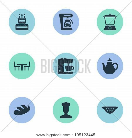 Vector Illustration Set Of Simple Gastronomy Icons. Elements Drainer, Infuser, Coffee Maker And Other Synonyms Teakettle, Birthday And Grain.