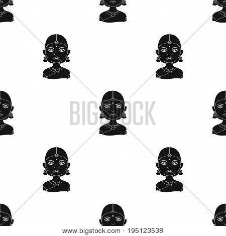Hindu woman.Human race single icon in black style vector symbol stock illustration .