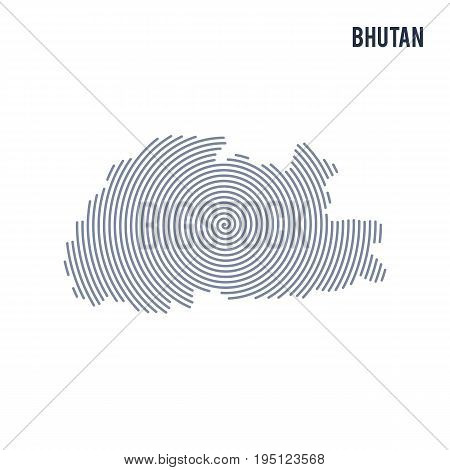 Vector Abstract Hatched Map Of Bhutan With Spiral Lines Isolated On A White Background.