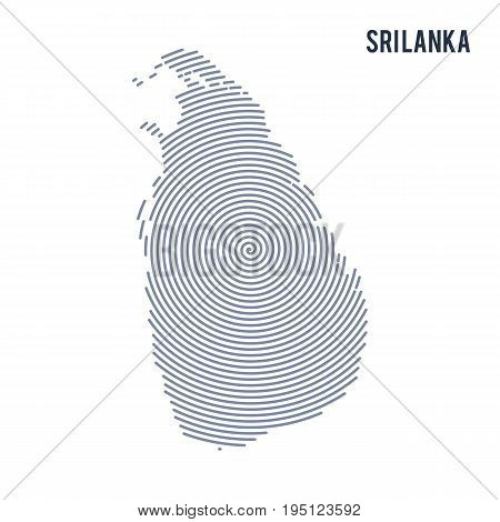 Vector Abstract Hatched Map Of Sri Lanka With Spiral Lines Isolated On A White Background.