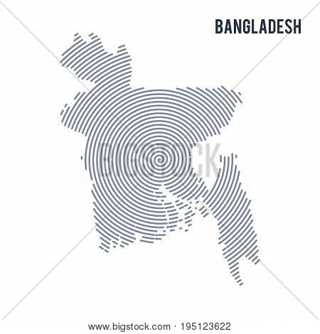 Vector Abstract Hatched Map Of Bangladesh With Spiral Lines Isolated On A White Background.