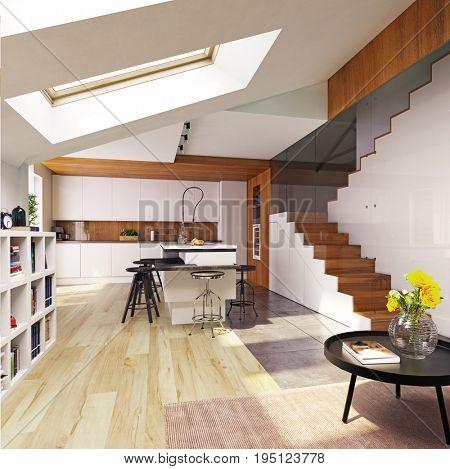 modern kitchen interior. 3D concept illustration