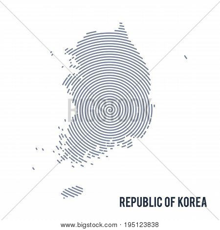 Vector Abstract Hatched Map Of Republic Of Korea With Spiral Lines Isolated On A White Background.