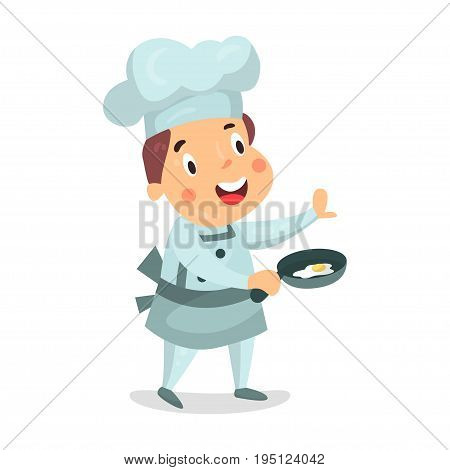 Cute cartoon little boy chef character holding a frying pan with fried eggs vector Illustration isolated on a white background