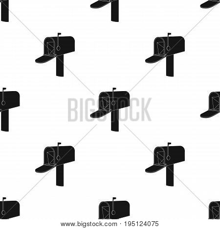 Correspondence box.Mail and postman single icon in black style vector symbol stock illustration .