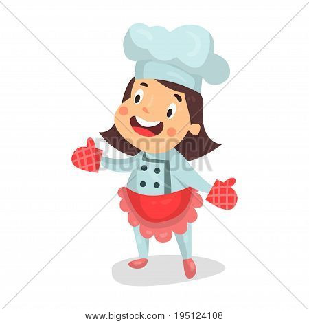 Cute cartoon little girl chef character in red apron and kitchen oven gloves vector Illustration isolated on a white background