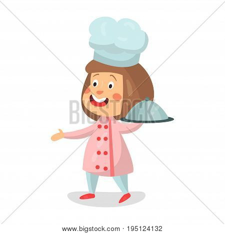 Cute cartoon smiling little girl chef character holding cloche platter vector Illustration isolated on a white background
