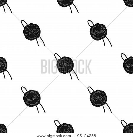 Wax seal.Mail and postman single icon in black style vector symbol stock illustration .
