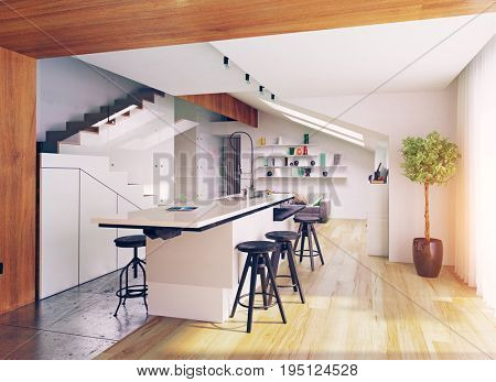 modern attic kitchen interior. 3D concept illustration