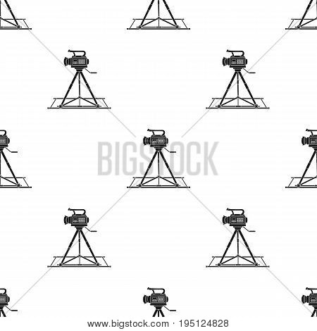 Camera moving on rails.Making movie single icon in black style vector symbol stock illustration .