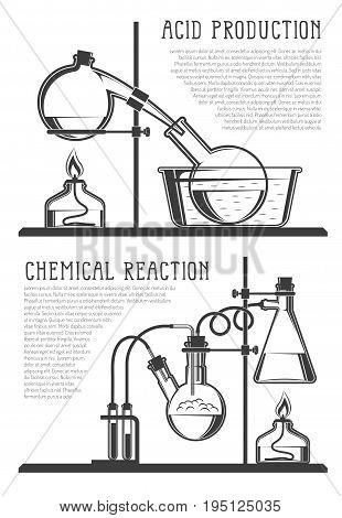Composition of chemical flasks and instruments with text in a scientific laboratory. Vector black and white illustration. Possible reconfiguration.