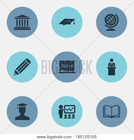 Vector Illustration Set Of Simple Knowledge Icons. Elements Tribune, Chalk, Pedagogue And Other Synonyms Lecture, Building And Academy.