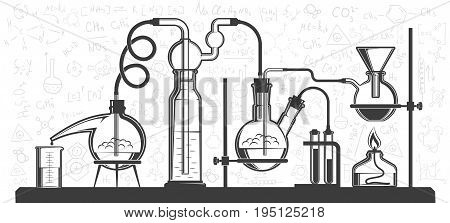 Chemical flasks and devices scientific experiment in lab. Vector black and white illustration. Possible reconfiguration.