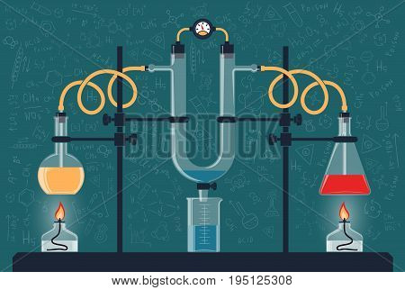 Composition of chemical flasks and a manometer in a scientific laboratory. Vector color illustration. Possible reconfiguration.
