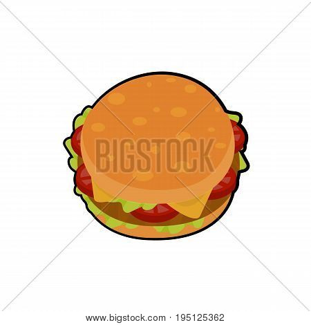 Isolated vector illustration of delicious burger  with meat, cheese, tomatoes and salat for poster, menus, brochure, web and icon fastfood. Cartoon style on white background