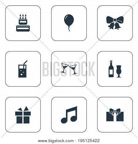 Vector Illustration Set Of Simple Celebration Icons. Elements Surprise, Wineglasses, Carbonated Drink And Other Synonyms Wineglass, Melody And Straw.