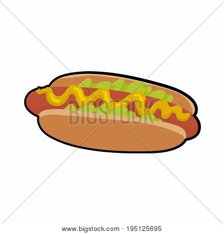 Isolated vector illustration of delicious hotdog with sauce and salat for poster, menus, brochure, web and icon fastfood. Cartoon style  with outline on white background
