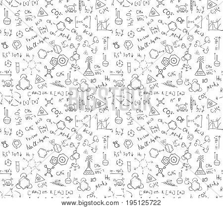 Seamless pattern of chaotically located chemical formulas records doodles. Included in swatches window.