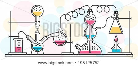 A chemical reaction consisting of flasks and tools in a chemical laboratory performed in a line style. Vector color illustration. Possible reconfiguration.
